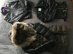 Manteau en duvet et 2 jacket en cuir
