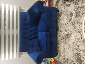 Brand new tufted royal blue love seat!
