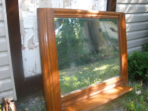 Large Wooden Antique Mirror/ Shelf