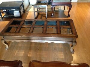 Solid Wood Coffee & End Tables - Smoked Bevelled Glass Cambridge Kitchener Area image 6