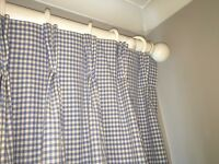 Gingham blackout fully lined curtains with triple pinch pleat