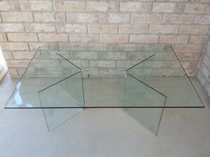 Large beveled glass top with glass base coffee table for sale London Ontario image 5
