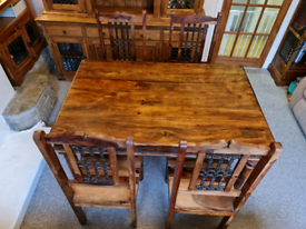 Solid Jali Sheesham dining table with chairs