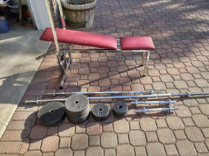 145 Pounds cast-iron weights set with incline bench