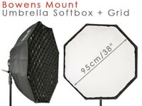 """Octabox Octagon Softbox 95cm (38"""") with Easy Umbrella System - with Bowens Mount and Honeycomb Grid"""