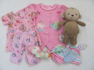 Carter's ~ Preemie size doll/baby clothing with Monkey Rattle