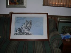 SIGNED VIC GIBBONS PAINTING [WINTER WATCH] 38 IN W/28IN H