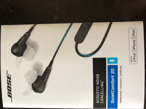 Bose QC20 in ear headphones for Apple products.
