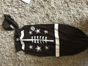 Football swaddle and hat-never used