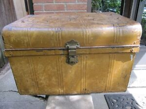trunk metal antique coffee table