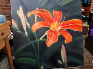 Original Oil Painting of Tiger Lilies