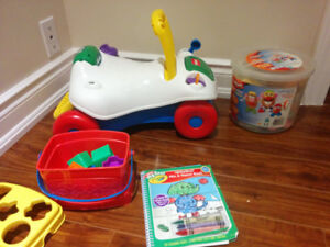 Ride along toy, Mr. Potato Head, shape sorting toy, and more