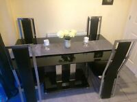 BLACK GLASS DINING TABLE & 6 CHAIRS