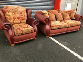 Chestnut Leather and Fabric 3 Seater Sofa and Chair
