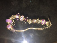 Silver Amore & baci bracelet with charms (including Pandora)