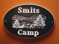 Carved Wood Cottage/Camp Sign with Engraved Lake & Trees Scene