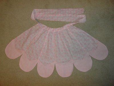 Vintage 1950's  Pedal Design Half Apron of Pink Floral Fabric