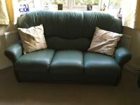 3 seater leather sofa and armchairs