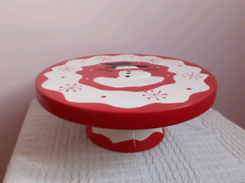 Snowman Decorated Christmas Cake Stand