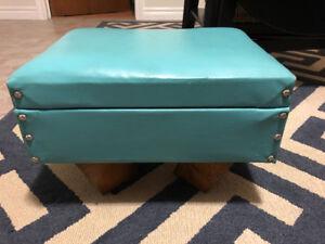 Vintage Turquoise Footstool