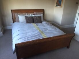 John Lewis King Size Mahogany and Rattan Sleigh Bed