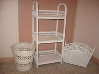white wicker 3 SHELF UNIT, waste basket and magazine stand