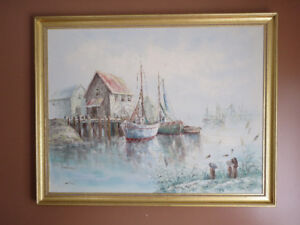 "Vintage  Original ""LUINI"" FISHING BOATS AT DOCK - OIL ON CANVAS"