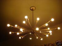 SATIN BRUSHED BRASS ATOMIC SPUTNIK STARBURST LIGHT FIXTURE CHANDELIER EAMES ERA