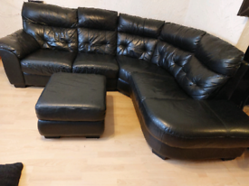 DFS soft leather corner sofa with footstool