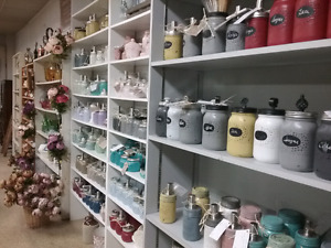 Mason storage jars, linens, cup & saucers plus 1000 booth's