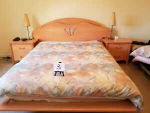 wood queen bed set for sale in bech colour