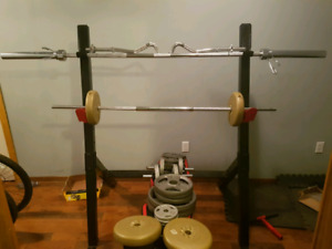 Workout rack, weights, treadmill and more