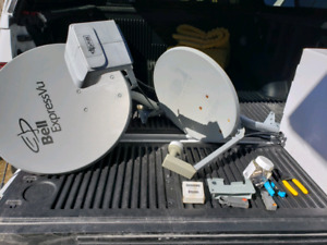 Satellite dishes, tool and rg6 spool