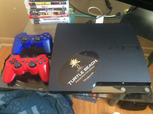 80 gb ps3, 3 controllers, cables, and games