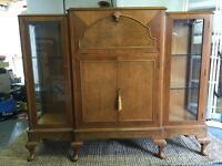 Antique - Art Deco cocktail and display cabinet. Burr walnut