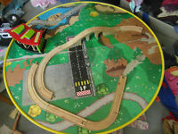 Round Train Table with some tracks and trains
