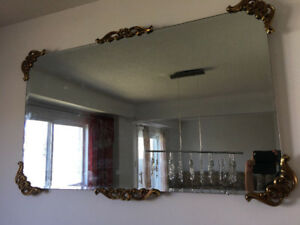 "Beautiful big glass mirror with golden 48"" x28"""