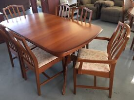 STAG, pale wood, large extending dining table and 6 chairs