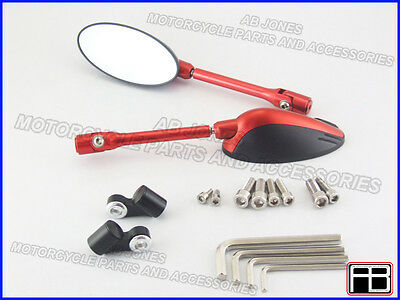 Bare mirrors red Kawasaki ZX10R 04-07 CNC machined alloy multi adjustable 01