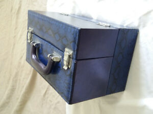Faux Blue Leather Make-Up Case