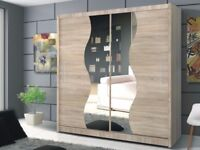 CASH ON DELIVERY-BEAUTIFUL DESIGN TOKYO 2 DOOR SLIDING WARDROBE WITH DESIGNING MIRROR-FAST DELIVERY