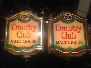 Vintage Country Club lighted signs (pair)