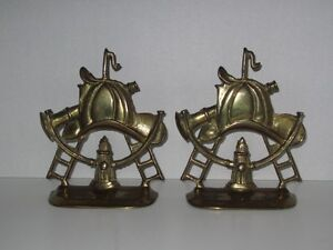 "BRASS 5 1/2"" HYDRANT FIREMAN HAT SEXTANT LADDER BOOKENDS DOOR ST"