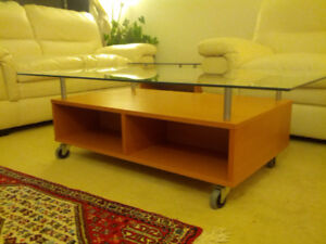 white loveseat & glass top coffee table