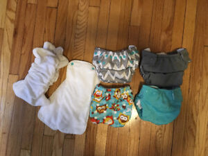 4 Bumkins One-Size-Fits-All Diaper Covers + Inserts