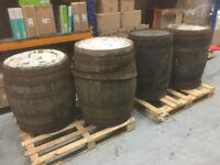 4 x old whiskey barrels drums rustic wooden keg garden feature