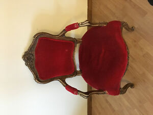 Antique Solid Wood Carved Red Velvet Chair OBO