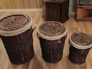 3 wicker hampers with liners