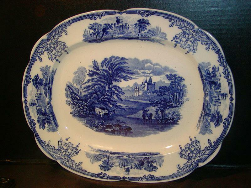 "Antique ENGLISH TRANSFERWARE PLATTER Blue & White, ""Sylvan"" 15""x12"", B.W.M.&C."