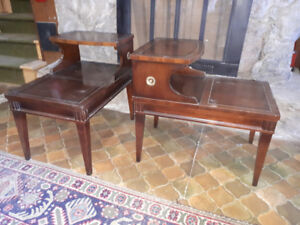 mid century, walnut, two tier side tables pair